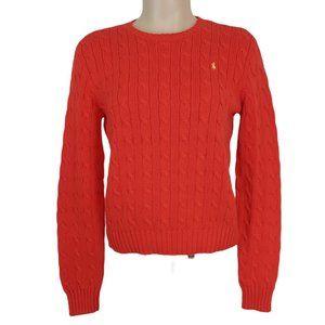 Ralph Lauren Orange Cable Knit Sweater Crew Neck M
